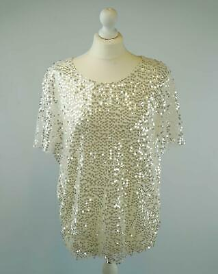 NEW Ladies NEW LOOK Sequin Party Special Occasion Top in Ivory White RRP £24.99