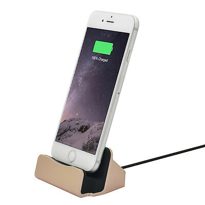 Charging Dock Station Holder Stand Docking Charger for iPhone 5 6 7 Gold DI