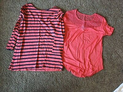 Lot Of 2 Old Navy Large Tops Coral