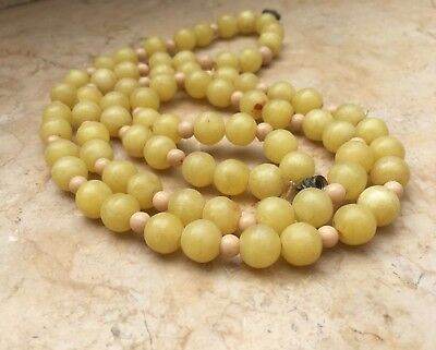 Antique Vintage Chinese Rare Stone Yellow Beads Long Necklace 10mm Long 15.74 In