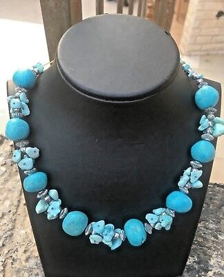 Antique Rare Handmade Natural Blue Turquoise Stone Bead Necklace Length 22 inch