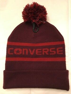 ec6a037df2e NWT Converse Pom Knit Cap Beanie Wordmark Hat Ski One Size Dark Red CON539