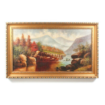 Antique Celeste Bruff Nichols Landscape Oil Painting