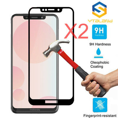 2Pcs Full Cover Tempered Glass Screen Protector For Motorola Moto P30 Play (One)