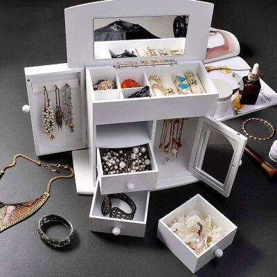 Yescom Wooden Jewelry Box Built-in Mirror Ring Earring Necklace Organizer Storag