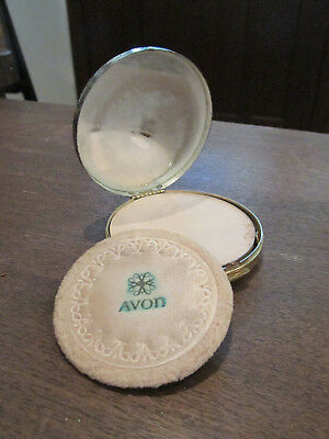 Vintage Avon Compact Pressed Powder Makeup With Mirror Face + Pad Metal
