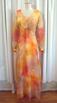 VTG 60s Orange WATERCOLOR FLORAL Sheer Puff Sleeve 1960s CHIFFON MAXI DRESS S