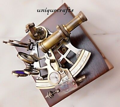 Nautical Vintage Brass Sextant W/ Wooden Box Collectible Antique Xmas Gift