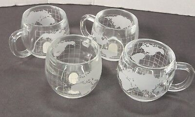 4 Nestle atlas world globe frosted etched glass mugs / cups (brand new) 8oz