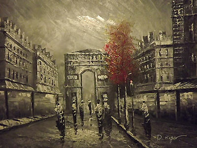 black white paris red tree large oil painting canvas modern french cityscape art