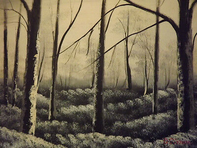 """black & white forest trees large oil painting canvas modern landscape art 20x24"""""""