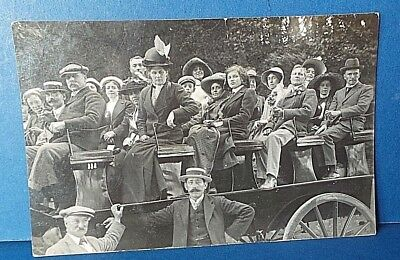 Jersey Channel Island Postcard Horse Wagon Outing c1910 A Smith Real Photo Card