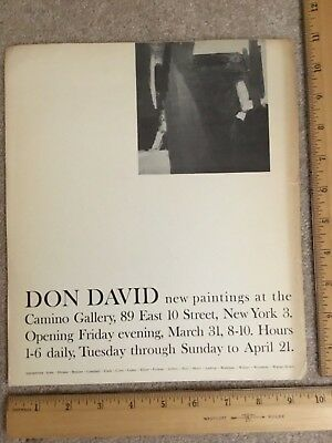 DON DAVID -New Paintings- Poster - CAMINO GALLERY, 89 East 10 Street, New York 3