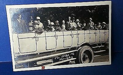 Jersey Channel Island Postcard Open Bus Outing 1916 Real Photo Card by Scotts