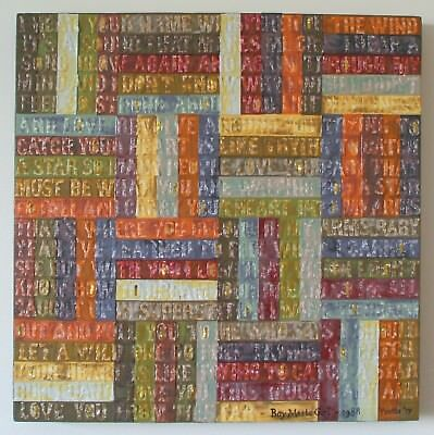 ORIGINAL MIXED MEDIA ART LOVE SONG CANVAS - BOY MEETS GIRL LYRICS 40x40CM