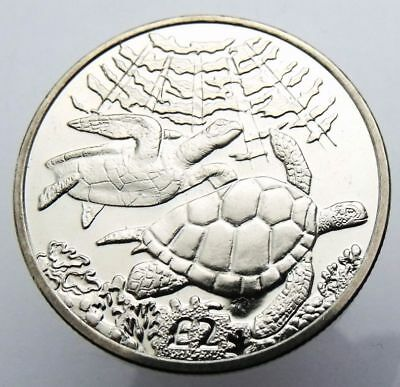 BRITISH INDIAN OCEAN TERRITORY 2 POUNDS 2017 ANIMAL GREEN TURTLE UNC 39mm