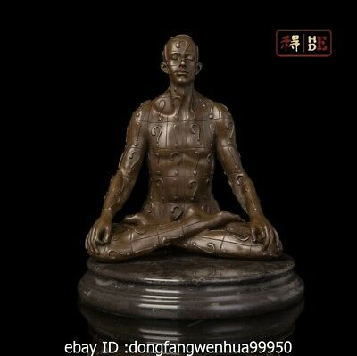 Abstract Art Sculpture Bronze Copper Marble Thinking Person Man Statue Figurine