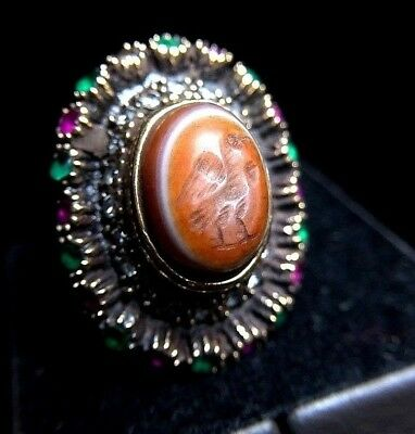 Splendid Old Eye Agate Intaglio Genuine Emerald RUBY Shield Sterling Silver Ring