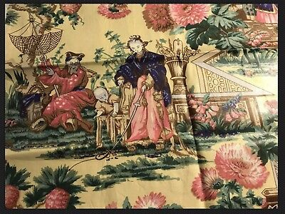 """Bailey & Griffin Chinoiserie Glazed Chintz Fabric Remnant, 18"""" X 33"""""""