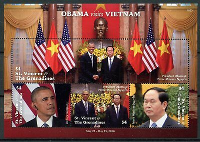St Vincent & Grenadines 2016 MNH Barack Obama Visits Vietnam 4v M/S Stamps