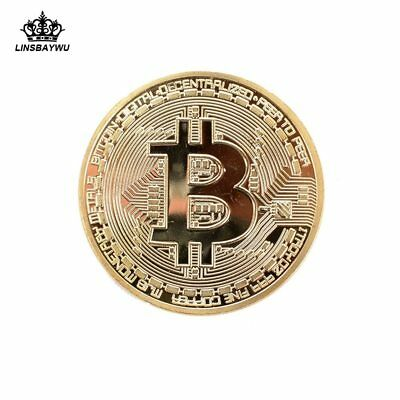 1Pcs Gold Plated Bitcoin Commemorative Round Collectors Coin Bit Coins Digital C