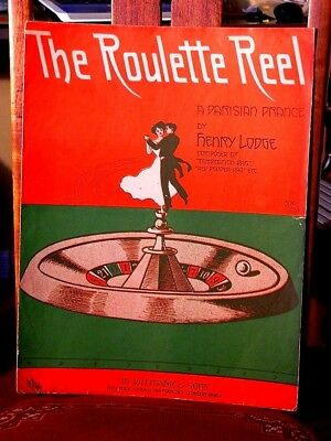 The Roulette Reel (1906) -  Large Format Antique Sheet Music - Gambling