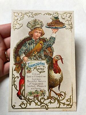 Antique Early 1900s Embossed Thanksgiving Postcard Thanksgiving Menu Glittered