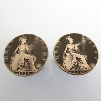 Great Britain Coin Cuff Links - Repurposed Half Penny Bronze Vintage UK Coins