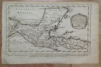 Mexico Guatemala Honduras 1750 By Bellin -Van Schley Antique Engraved Map