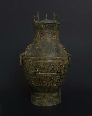 Fine Large Perfect Antique Chinese Bronze Pot Vase With Lid-31cm