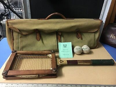 Antique / Vintage Muller Tennis Racket With Canvas Carry Case & Balls
