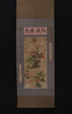 Antique Chinese Hand-painting Painting Scroll Lv Ji Marked-flower