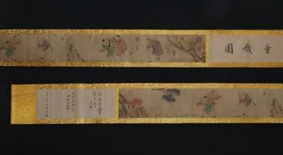 Fine Antique Chinese Hand-painting Scroll Li Zhi Marked-kids