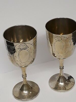 """PAIR OF VINTAGE SILVER PLATE EPNS WINE GOBLETS 6"""" TALL floral etching."""
