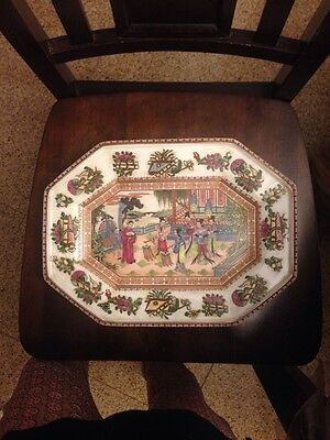 Rare Chinese Asian Antique Qing Dynasty Porcelain Plate Hand Painted Gold