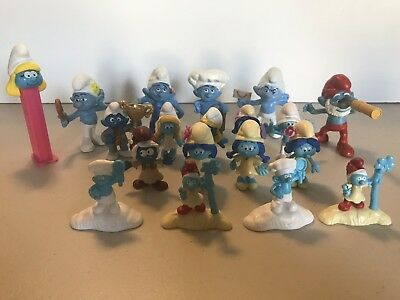 SMURFS - Lot Of 19 McDonald's Happy Meal Toys & 2017 Lost Village Movie Figures!