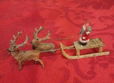Old German Putz Metal Santa and Sleigh