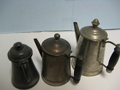 Antique Tin Teapot(2) And One Silver Plate Teapot Lot Of 3