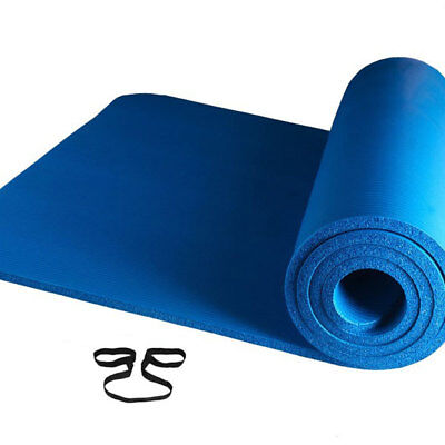 10mm THICK FOAM EXERCISE Yoga Mat Gym Workout Fitness Pilates Pad w/ Strap Blue