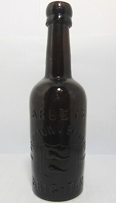 """""""Black"""" Glass Abbeys of Brighton Sussex Beer with Fishes Trade Mark c1890's"""