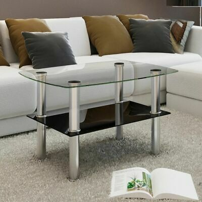 Coffee Table Glass 2 Tiers Home Living Room Sofa Side Telephone Stand Office UK
