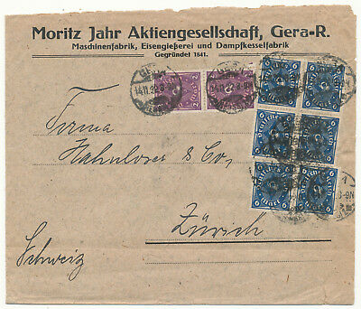 "Germany 171, 228 W ""gera (Reuss) "" Cover To Switzerland Inflation (1922)"