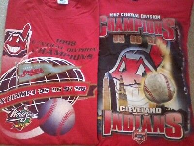 LOT of Two Vintage 90s STARTER Cleveland Indians Division Champ T-Shirts L WAHOO