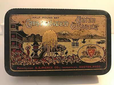 Vintage CRYSTALLIZED CANTON GINGER CHINA SS PIERCE FOOD AD TIN CAN (empty)