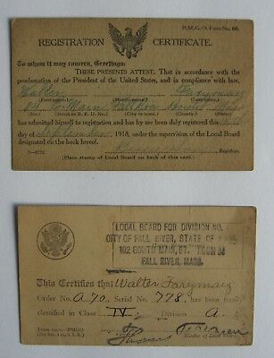 Ww1 Selective Service Registration Certifacate & Classification Card