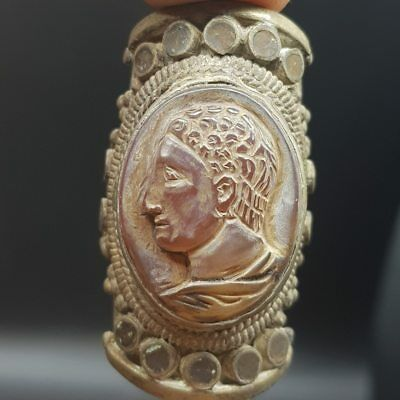 Ancient Amethyest Stone Face Cameo Stone Wonderful Ring    # 7L