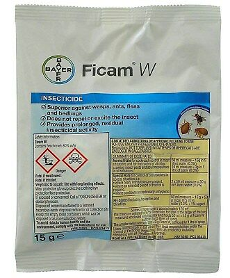 Bayer Ficam W Insecticide 2 X 15G Wasps, Fleas, Ants, Bedbugs, Cockroaches