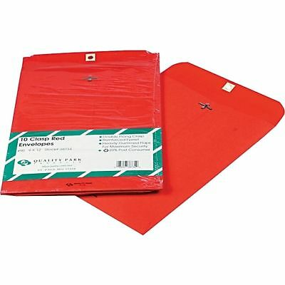 "10/Pack Quality Park 9"" x 12"" Red Clasp Envelopes, 38734"