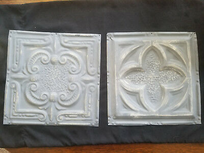 "2pc Lot of 12"" by 12"" Antique Ceiling Tin Vintage Reclaimed Salvage Art Craft"