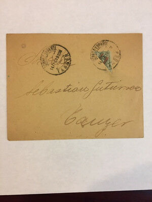 Spanish Morocco 1919 cover with 1909 20c olive green Bisect to make 10c rate
